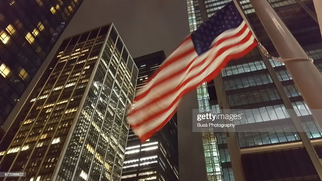 American flag at World Trade Center Site, Lower Manhattan, at night. New York City, USA : Stock Photo
