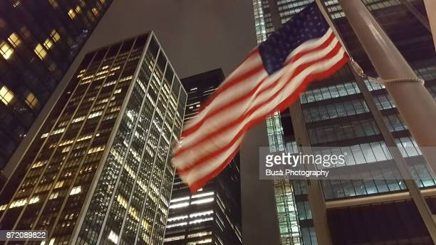 American flag at World Trade Center Site, Lower Manhattan, at night. New York City, USA