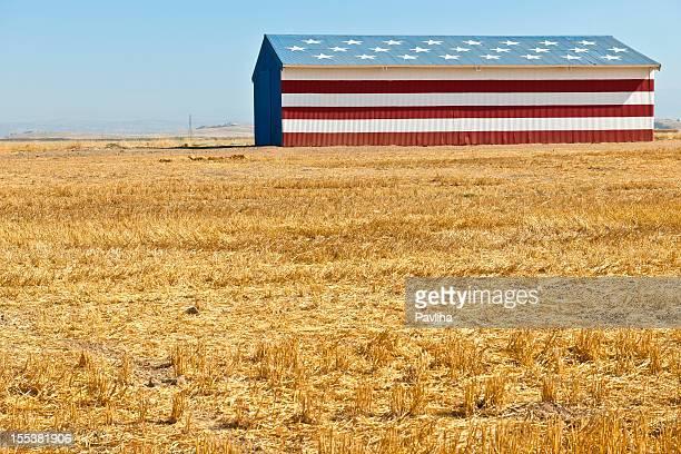 American Flag Barn in Western USA