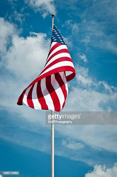 american flag blowing in wind - flag day stock pictures, royalty-free photos & images