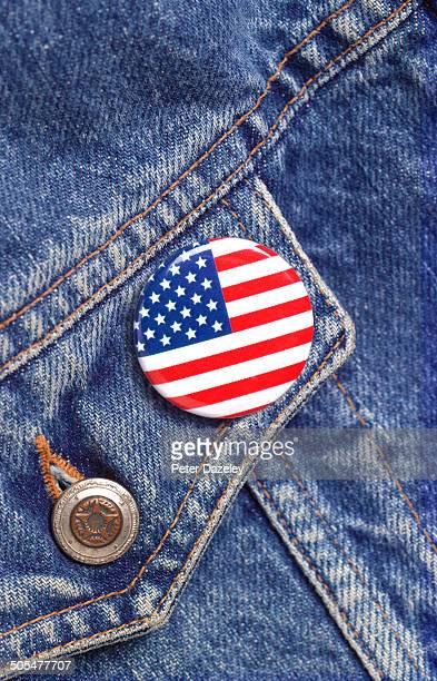 American flag button badge