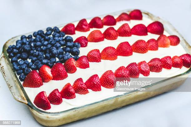 American Flag Cake Decorated with Blueberries and Strawberries