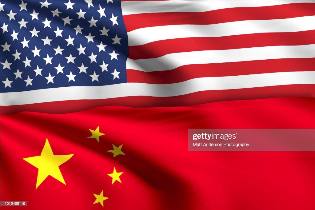 American Flag China Flag No Effect No Texture. : Stock Photo