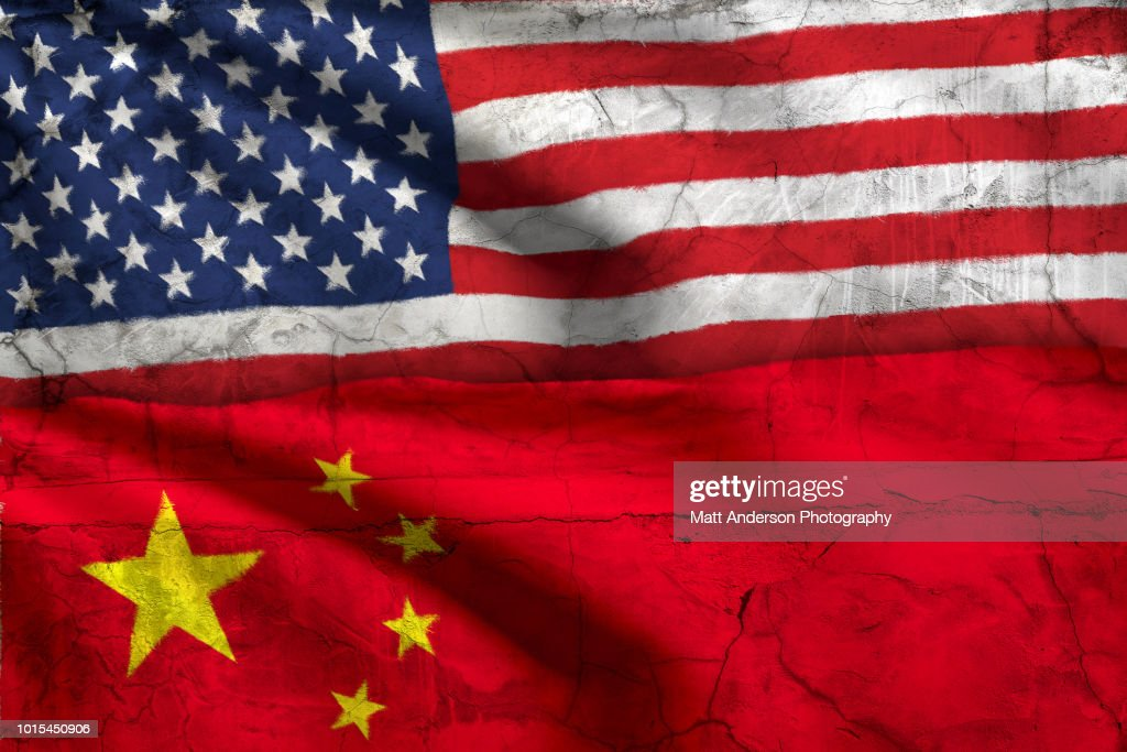 American Flag China Flag with Texture : Stock Photo