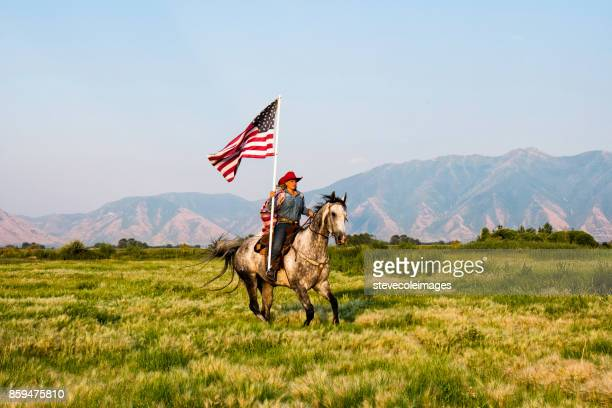 american flag cowgirl - appaloosa stock pictures, royalty-free photos & images