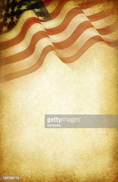 American flag design on coffee colored white paper
