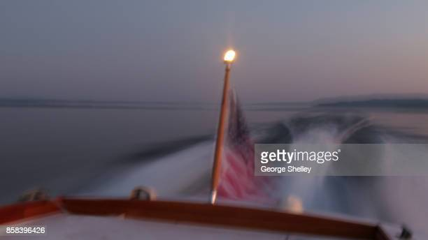American flag displayed on boat's stern