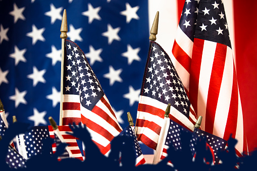 American Flag flies freely over America. 1275957470