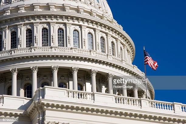 American Flag Flies Over Capitol Dome