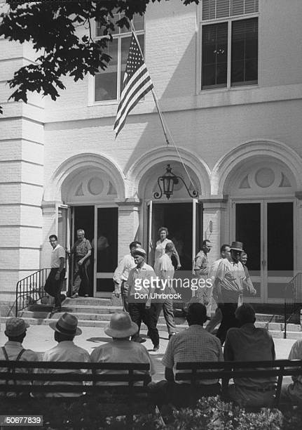 365474b5866 American flag flying in front of the State House during racial violence in  the city. Reverend. Reverend Cambridge Maryland 1959