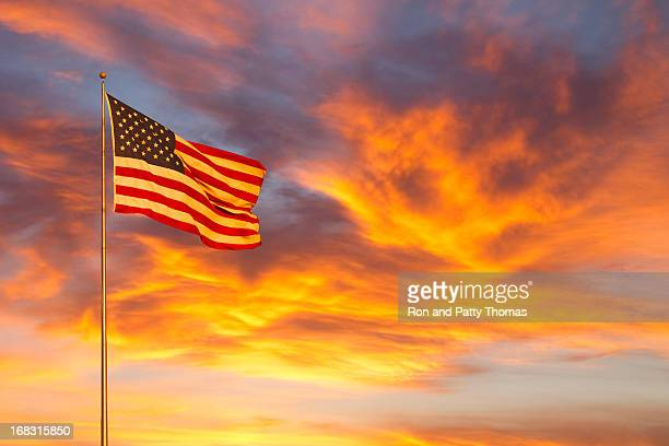 American flag glow in sunset (P)