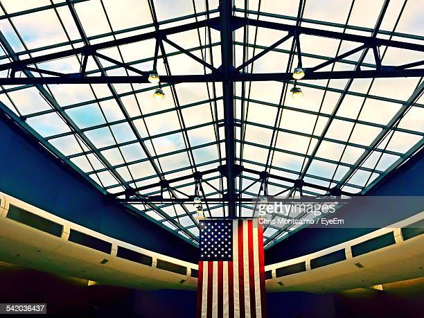 American Flag Hanging From Ceiling Of Philadelphia International Airport