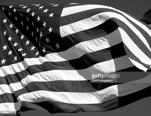 American Flag In Black and White