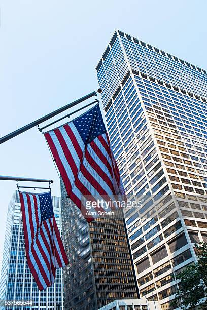 american flag in front of office building