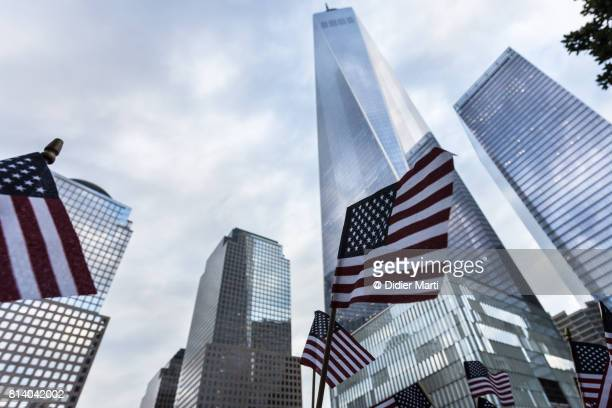American flag in front of the One World World trade Center in New York city