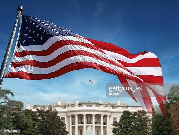 american flag in front of the white house - president stockfoto's en -beelden