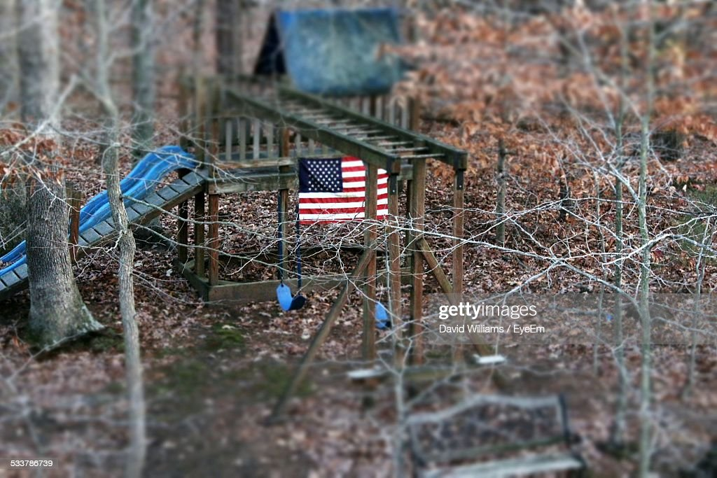 American Flag In Playground : Foto stock