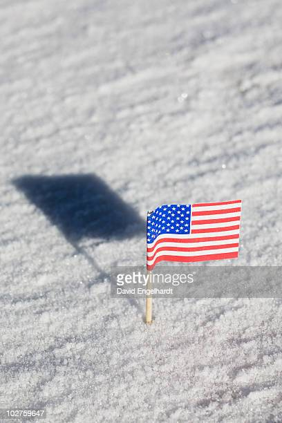 american flag in the snow - mini moon stock pictures, royalty-free photos & images