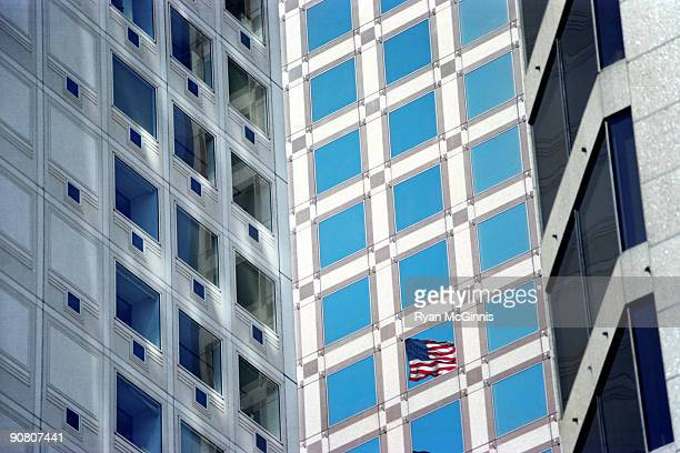 american flag in window - ryan mcginnis stock photos and pictures