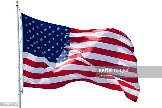 american flag isolated with clipping path - stars and stripes stock pictures, royalty-free photos & images