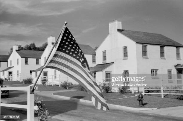 American Flag, Labor Day, Greendale, Wisconsin, USA, a Greenbelt Community Constructed by U.S. Department of Agriculture as Part of President...