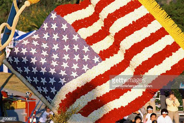 American flag made of flowers from Rose Parade