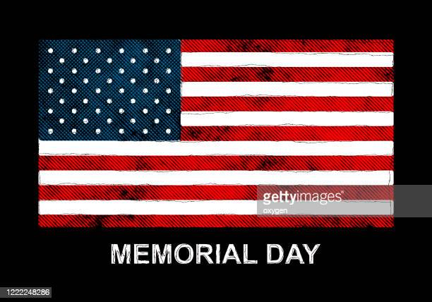 american flag memorial day celebration on background and text watercolor digital paint - memorial day background stock pictures, royalty-free photos & images