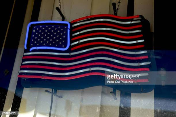 American flag neon at Sweetwater, Texas, usA
