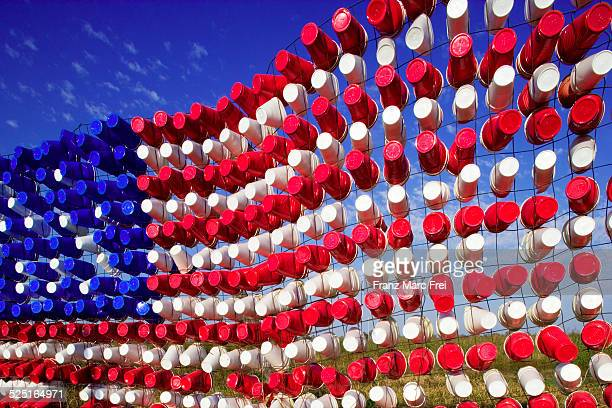 American Flag of empty plastic cups