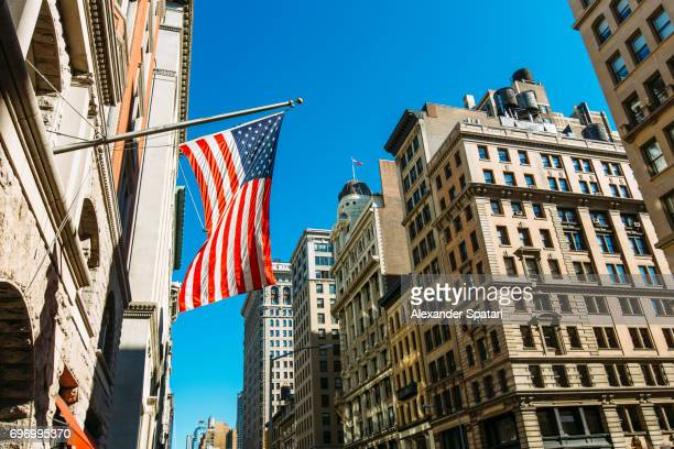 American Flag on a building at Fifth Avenue, Manhattan, New York City, United States