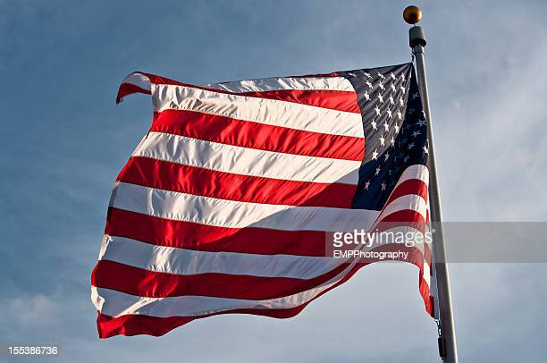 american flag on a pole - flag day stock pictures, royalty-free photos & images