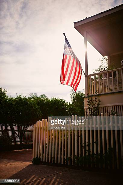 American Flag on a rural house