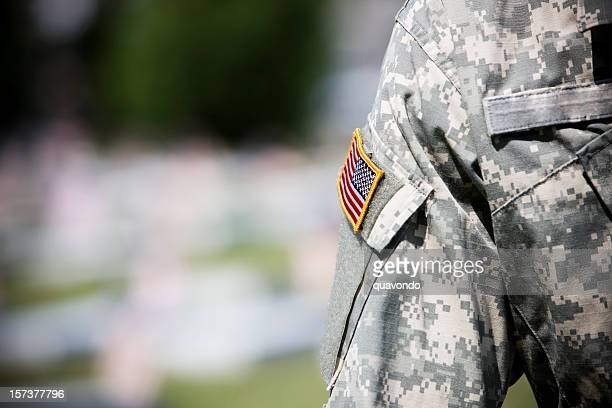 American Flag on Army Military Uniform, Copy Space