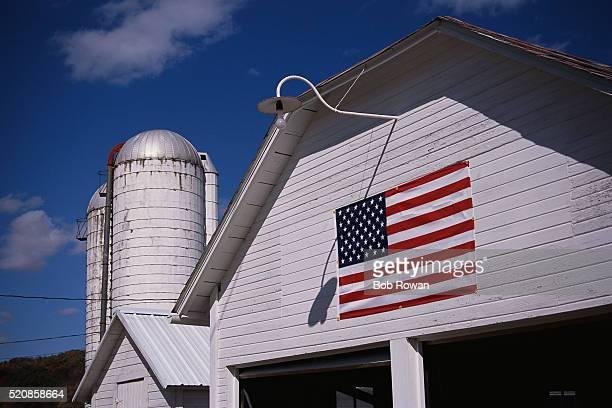 American Flag on Barn Exterior