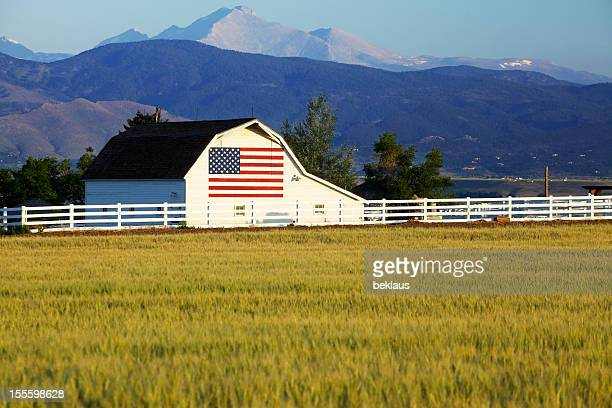 american flag on barn in rocky mountains - farmhouse stock pictures, royalty-free photos & images