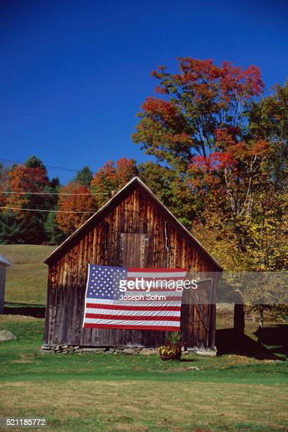 American Flag on Barn