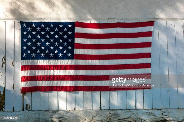 American Flag on garage after Thomas Fire in Ojai California 2018