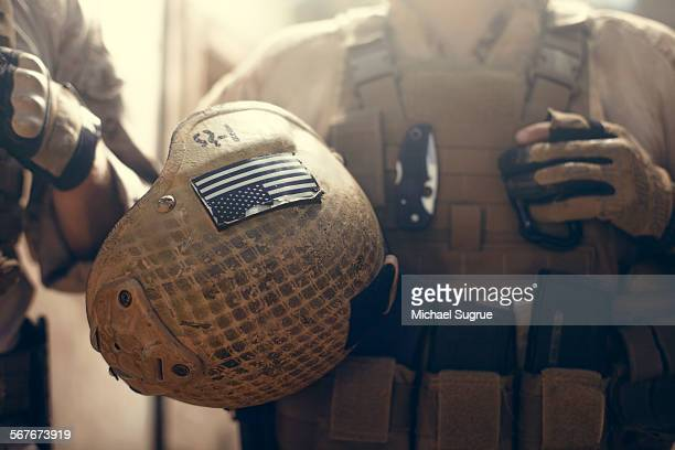 american flag on helmet of us marine soldier. - us military stock pictures, royalty-free photos & images