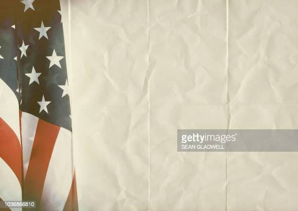 American flag on paper texture