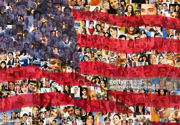 American flag over collage of business people