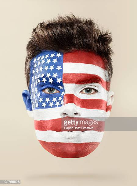 American flag painted on man's face