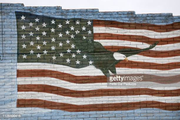 american flag painting on the wall at hackberry, arizona, usa - american flag eagle stock pictures, royalty-free photos & images