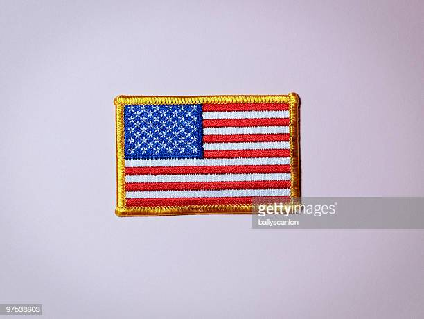 American Flag Patch on Pink Background.
