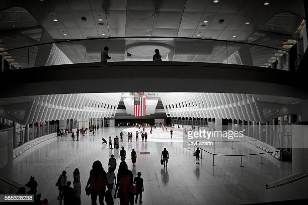 American Flag, People Passing Through World Trade Transportation Hub, NYC