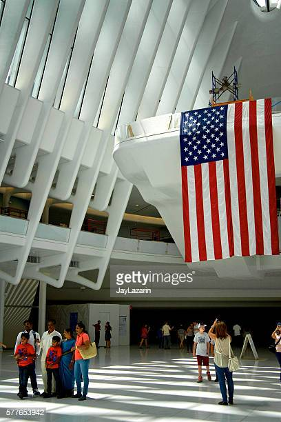 American Flag, People Under the Oculus, World Trade Transportation Hub