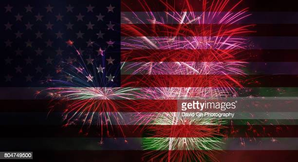 american flag with 4th of july fireworks abstract - july stock pictures, royalty-free photos & images
