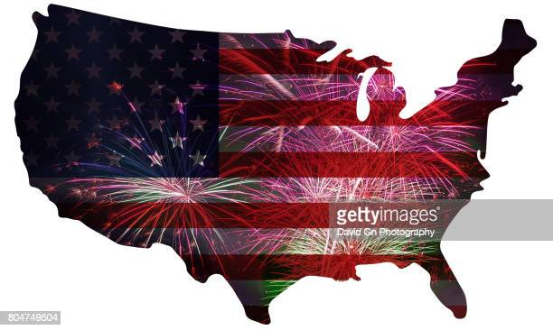 American Flag with 4th of July Fireworks in USA Map Outline