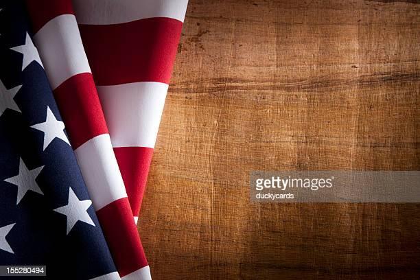 アメリカのアメリカ国旗、木の質感と Copyspace