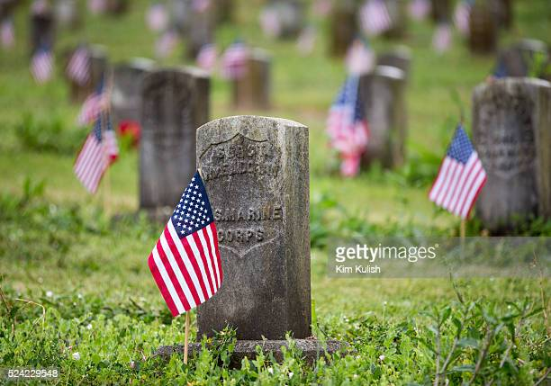 American flags adorn graves on Memorial Day at the historic Mare Island Naval Cemetery in Vallejo California Founded in 1858 it was the first naval...