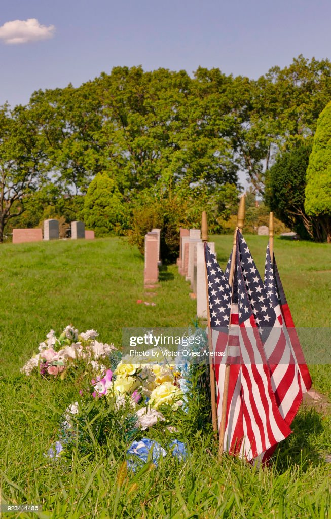 American flags and flowers, Greenwood Cemetery, Brooklyn, New York, USA : Foto de stock